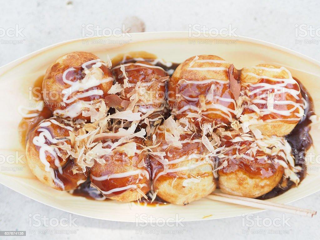 Takoyaki with japanese sauce. stock photo