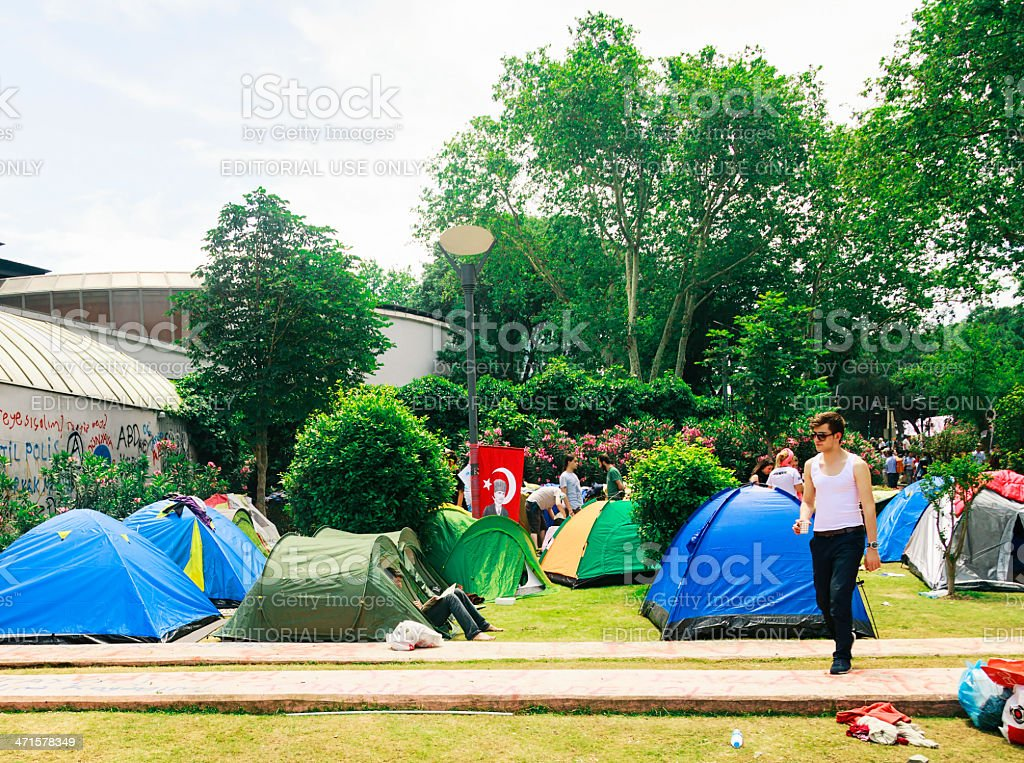 Taksim Gezi Park protests in istanbu stock photo