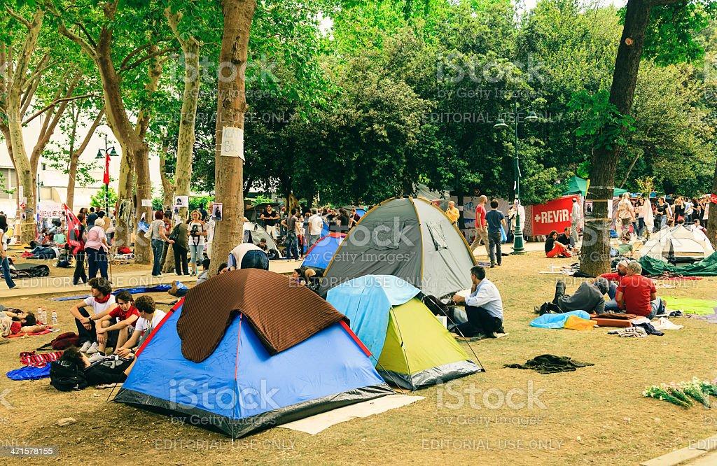Taksim Gezi Park protests in Istanbul stock photo