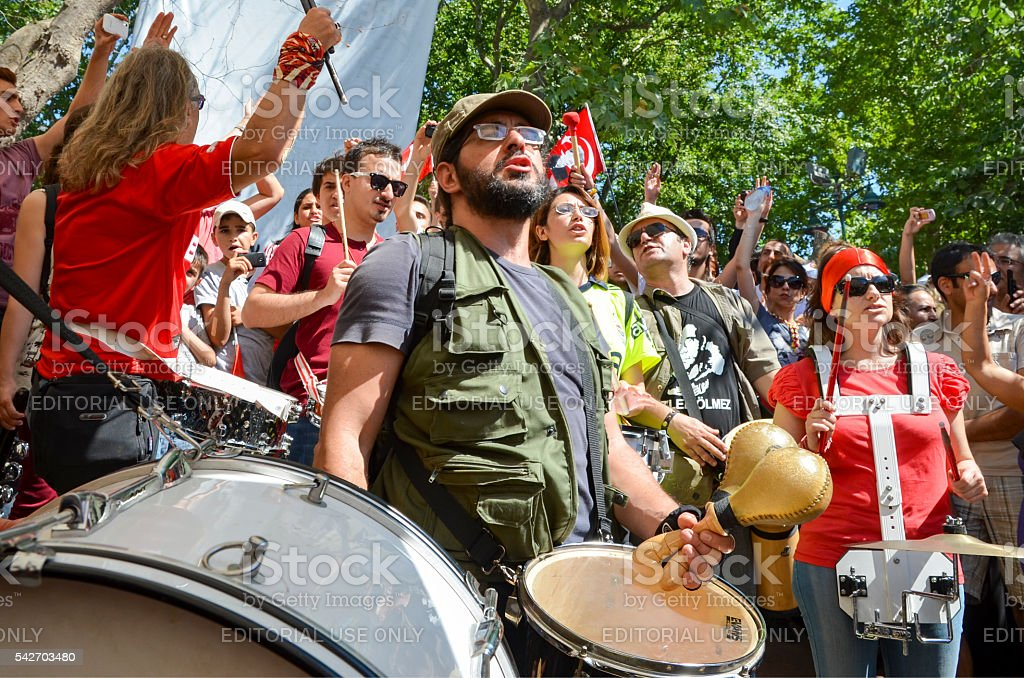 Taksim Gezi Park, which support the protesters marching band mus stock photo