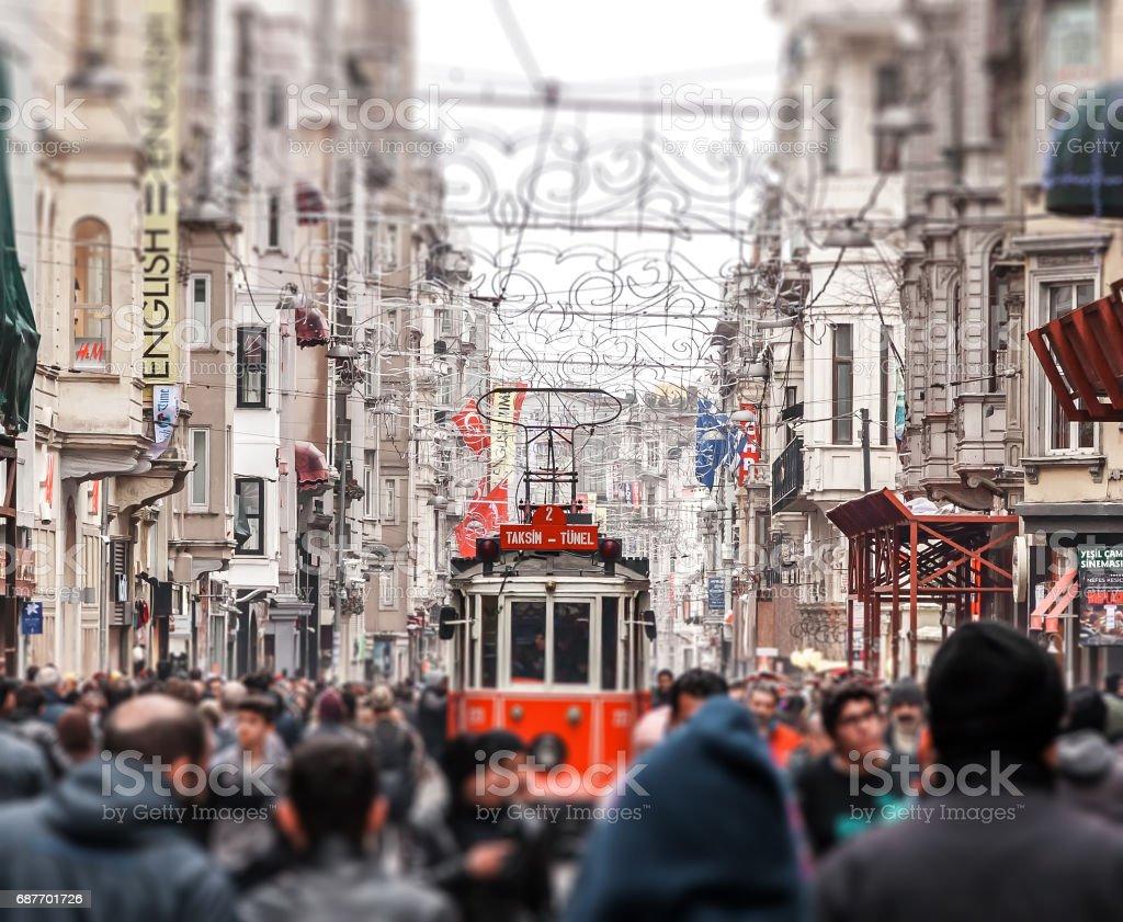 Taksim Istiklal Street. Istanbul, Turkey. Tilt-shift photo stock photo