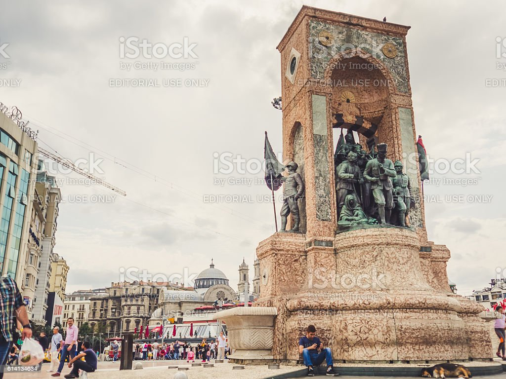Taksim square and the monument. stock photo