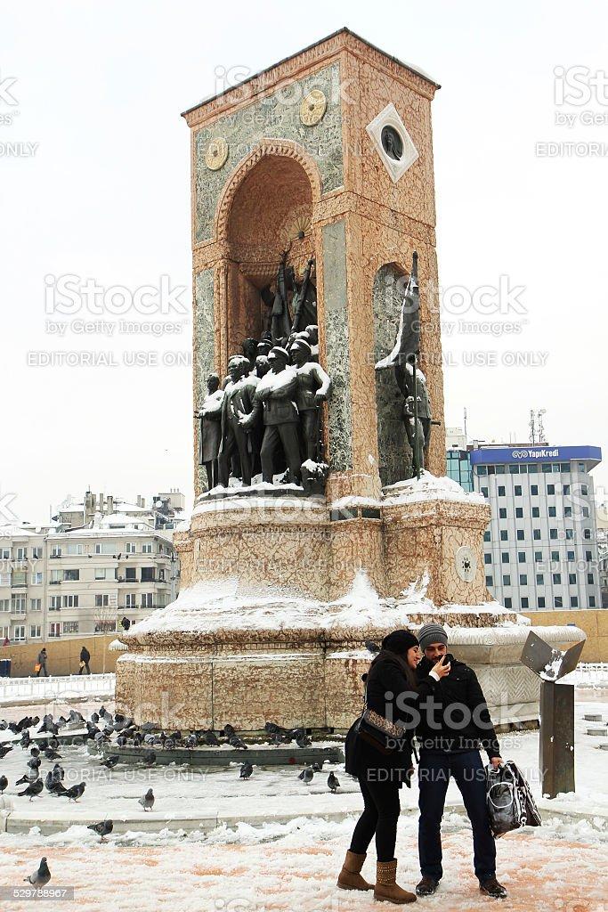Taksim square in winter stock photo