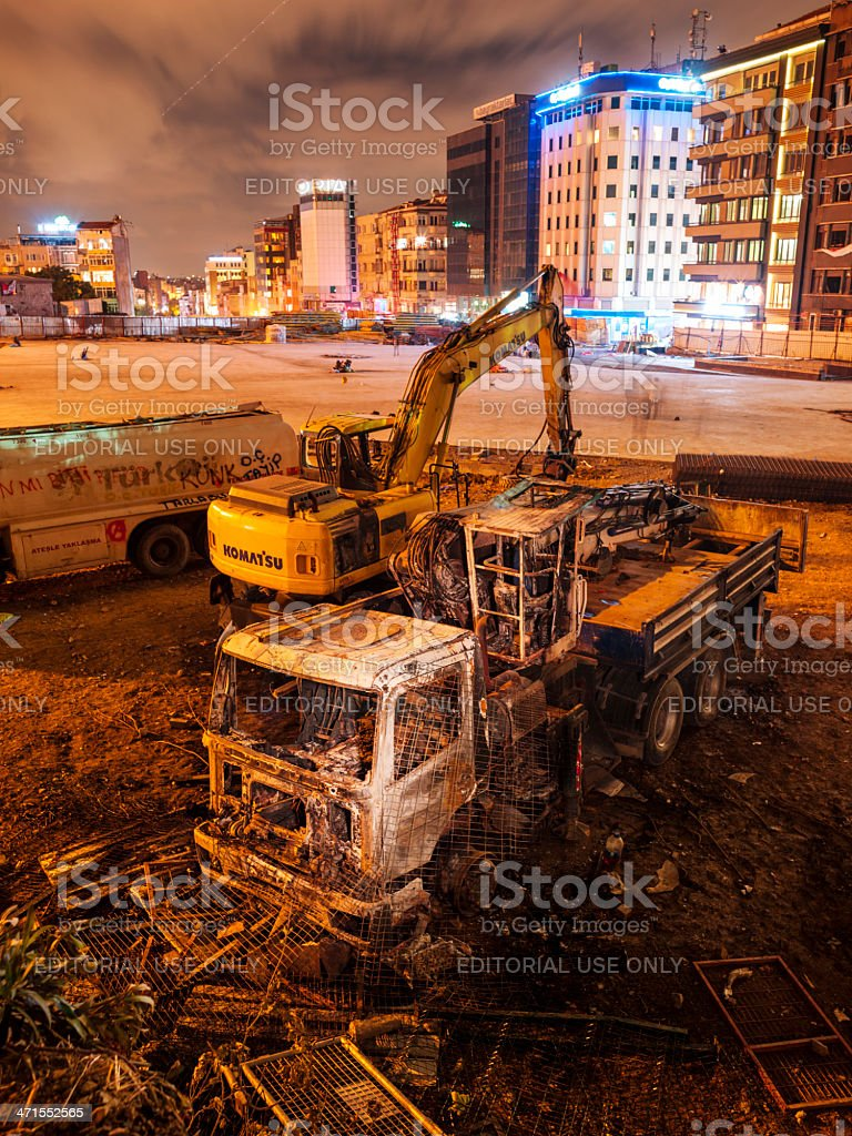 Taksim Square | Torched Vehicles stock photo