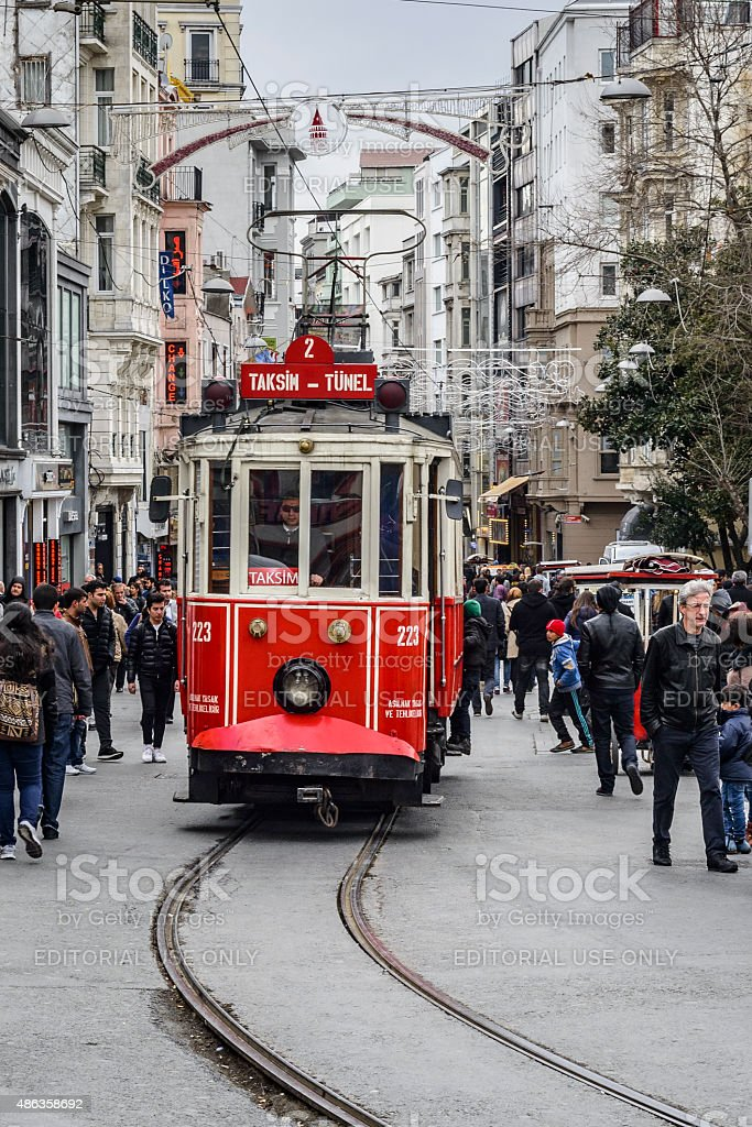 Taksim Tunel tramway T2 in a crowded street in Istanbul stock photo