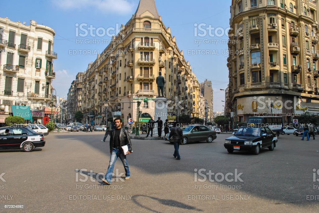Talaat Harb Square in Cairo stock photo