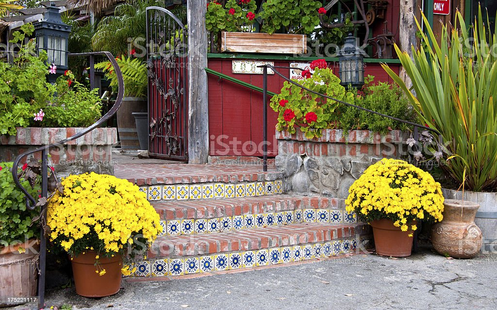 'Stairway with Mexican, Talavera Tiles' stock photo