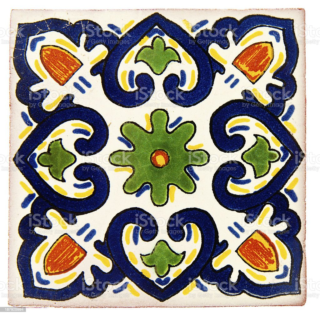 Handcrafted Mexican Ceramic Tile, Talavera stock photo