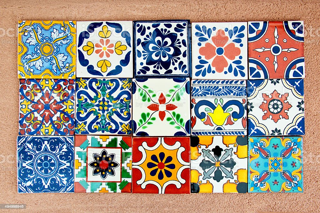 Talavera Handcrafted Mexican Ceramic Tile stock photo