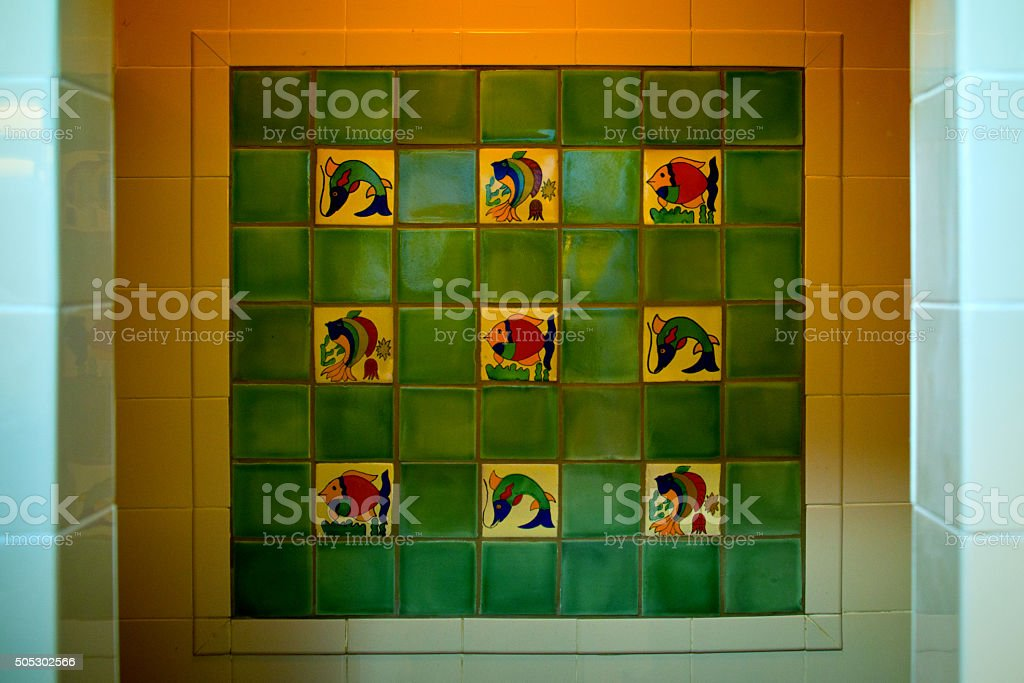 Talavera Tile Shower, Mexican Ceramic Tile Wall, Full Frame Image stock photo