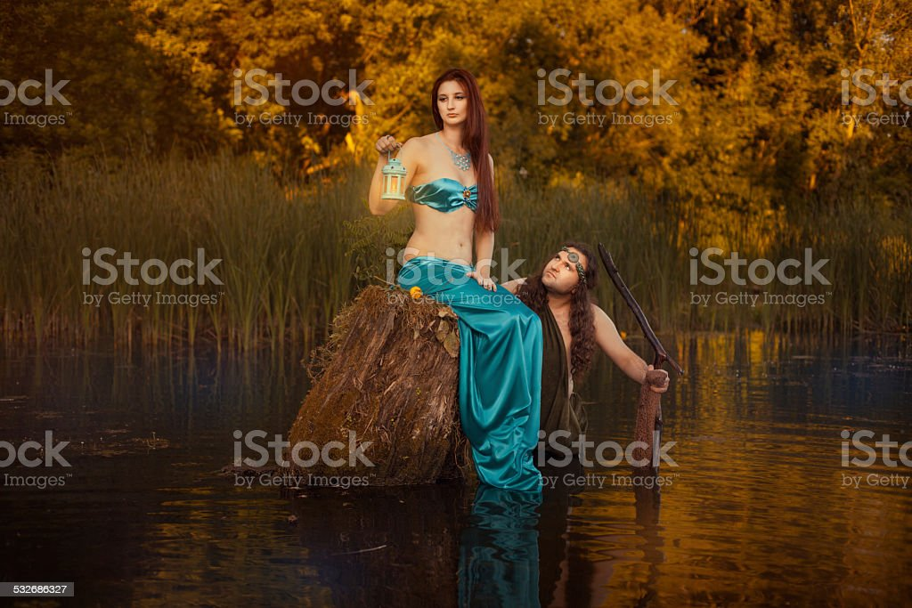 Tale man and a woman. stock photo