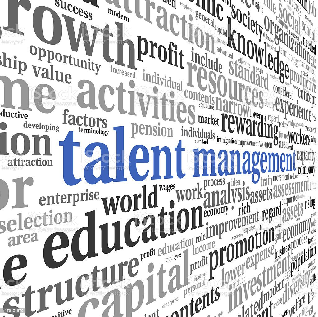 Talent management word cloud filling up an entire background royalty-free stock photo