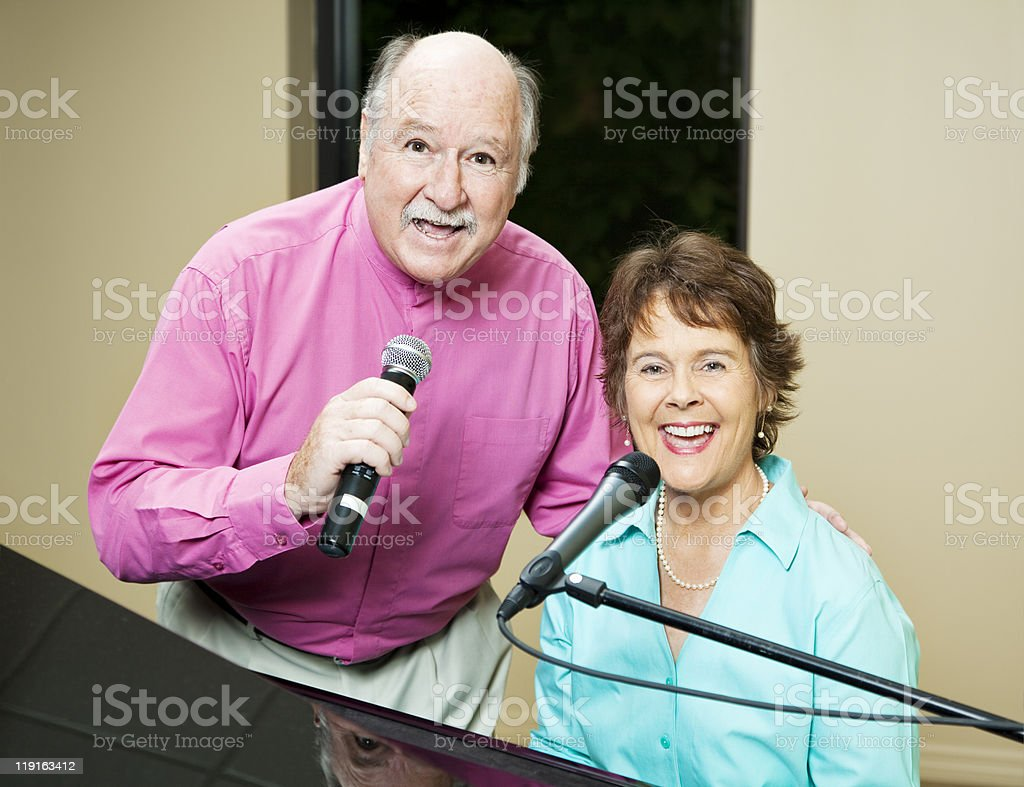 Talented Couple Sings Duet royalty-free stock photo