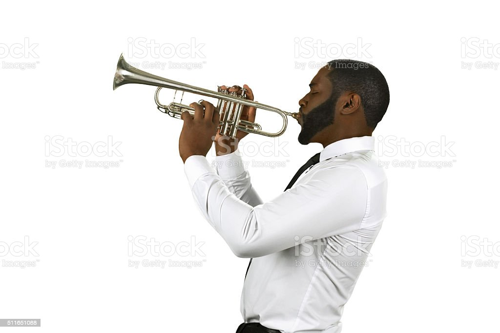 Talented trumpet performer. stock photo