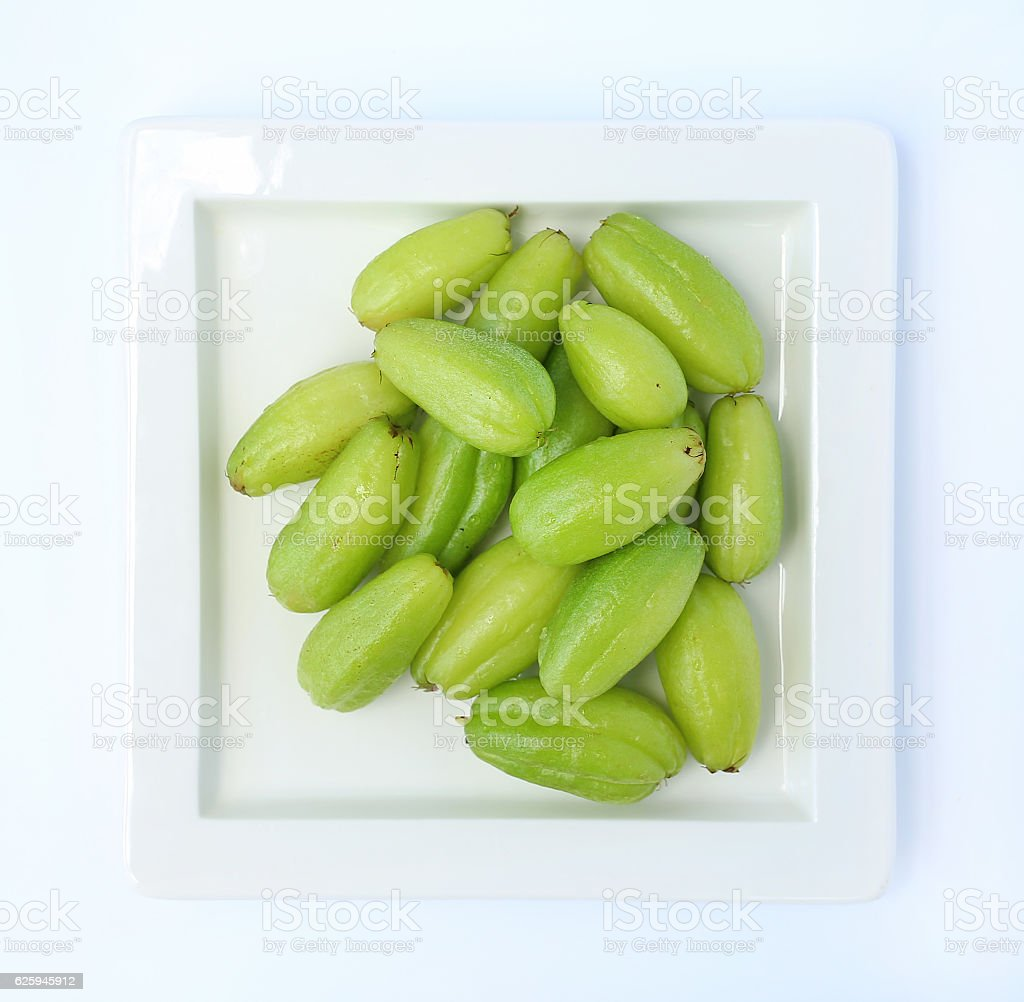 Ta-Ling Ping in white square plate stock photo
