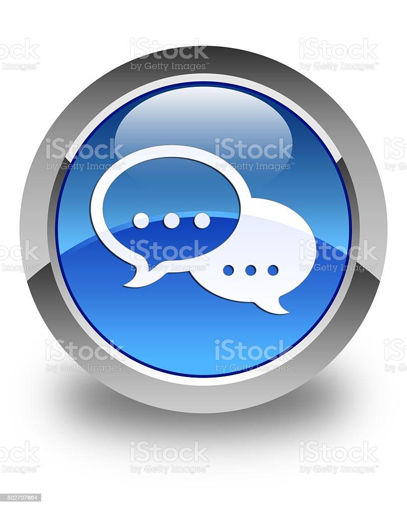 Talk bubble icon glossy blue round button stock photo