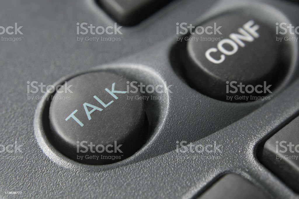 Talk button on phone - macro royalty-free stock photo
