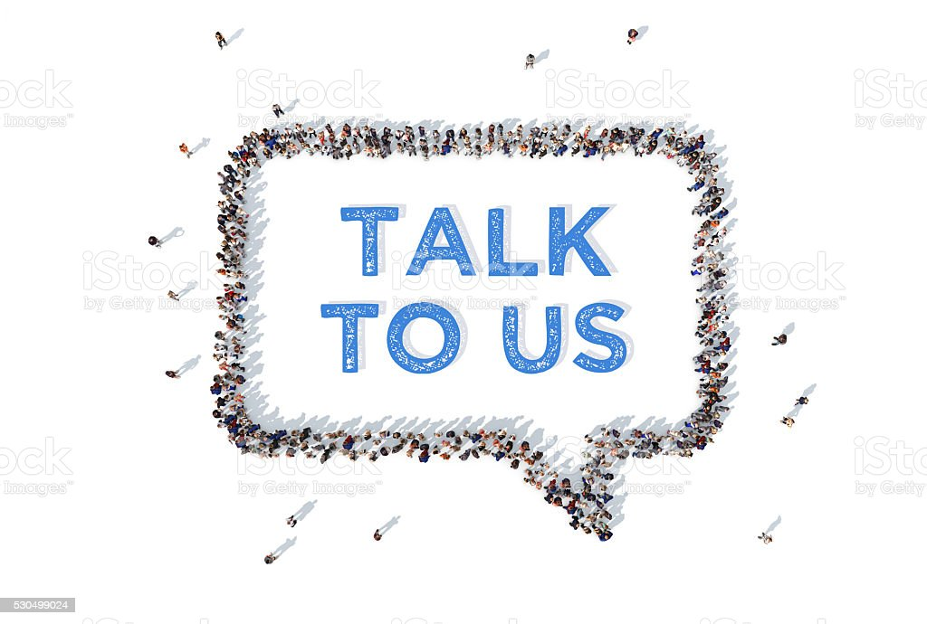 Talk to us message inside speech bubble made from people stock photo