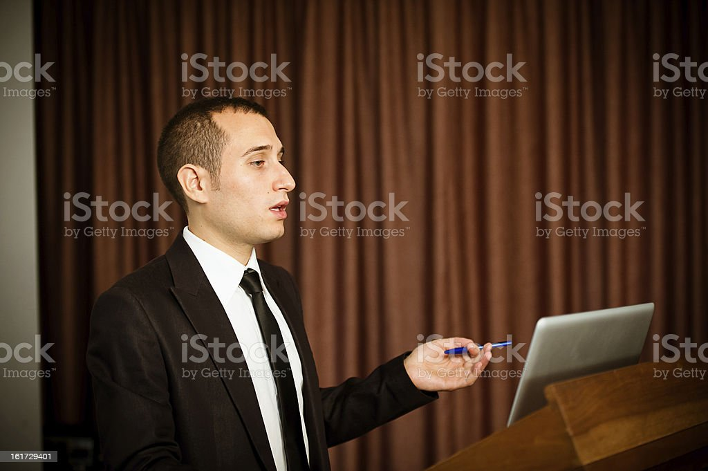 Talking at convention royalty-free stock photo