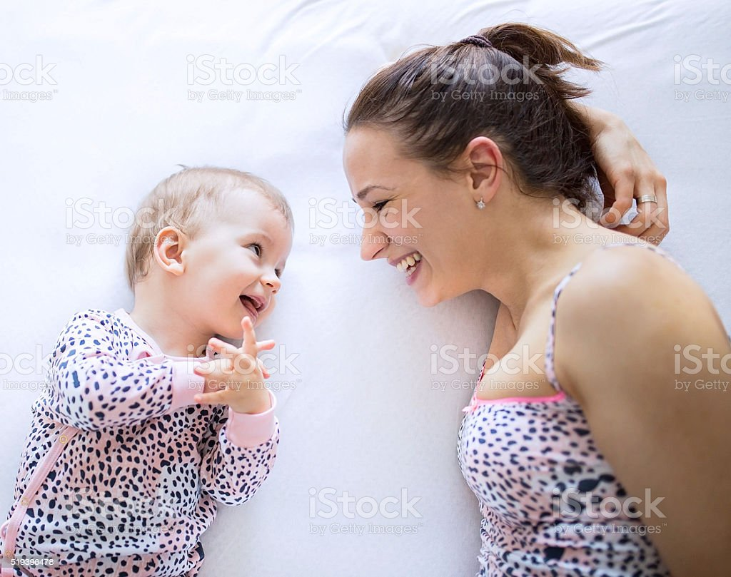 Talking baby stock photo