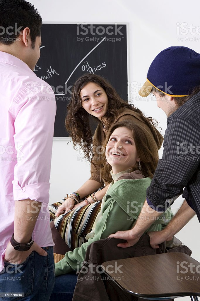 talking before class royalty-free stock photo