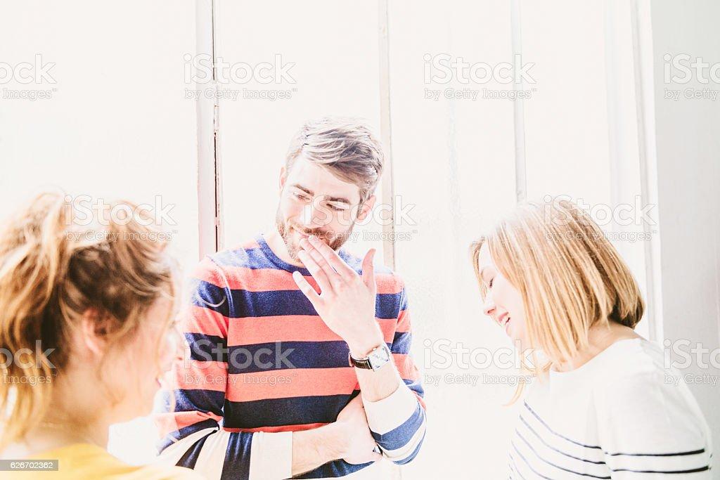 talking between friends stock photo