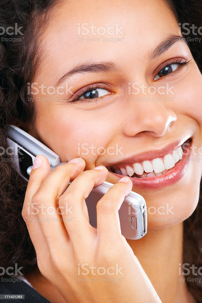 Talking business over the phone royalty-free stock photo