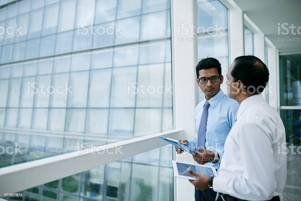 Talking business partners stock photo