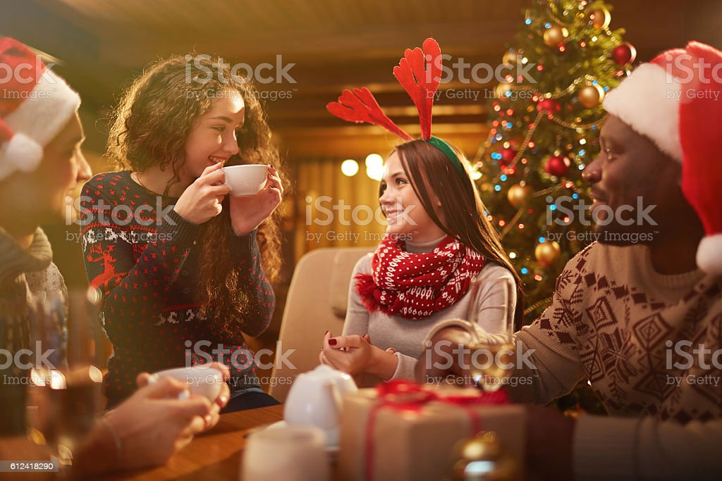 Talking by tea stock photo