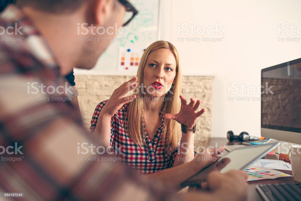 Talking in the Office stock photo