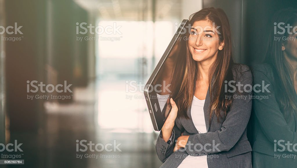 Talking On A Large Smart Phone stock photo
