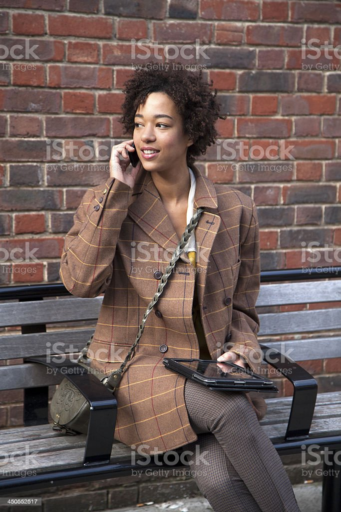 talking on a mobile phone stock photo