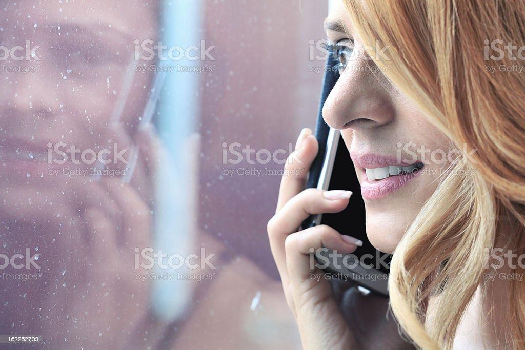 Talking on Cellphone stock photo