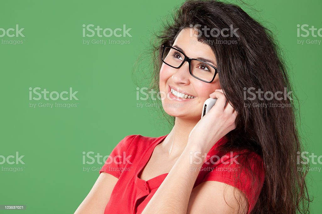 Talking on phone stock photo