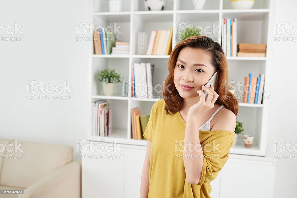 Talking on phone stock photo