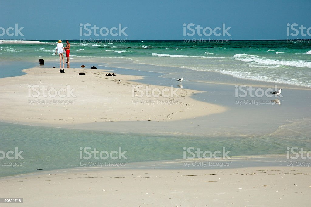 Talking on the beach royalty-free stock photo