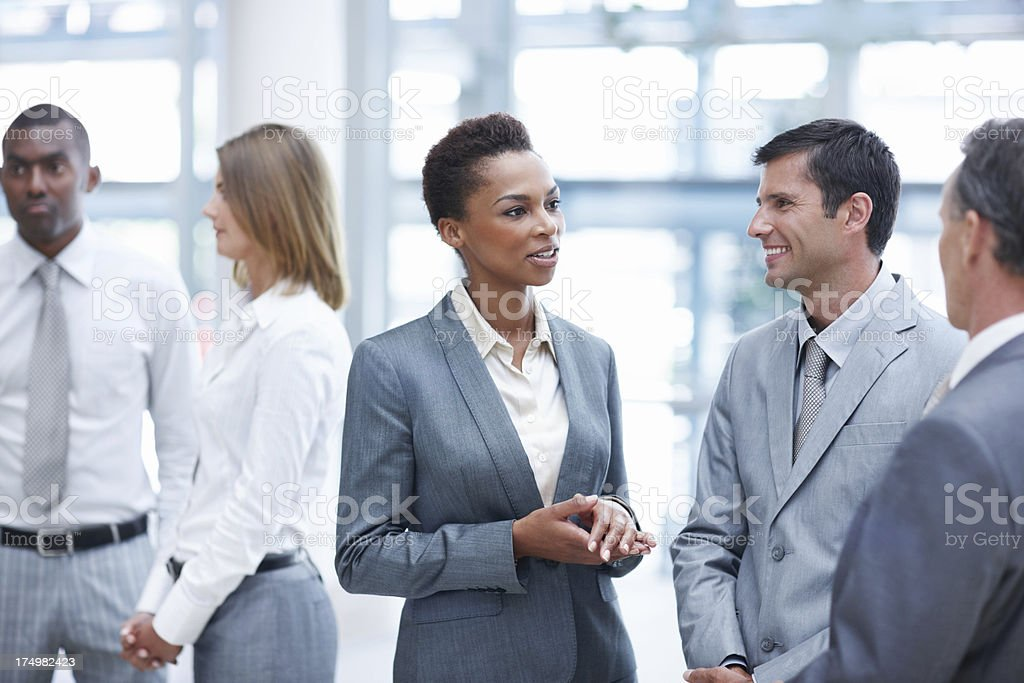 Talking shop at breaktime royalty-free stock photo
