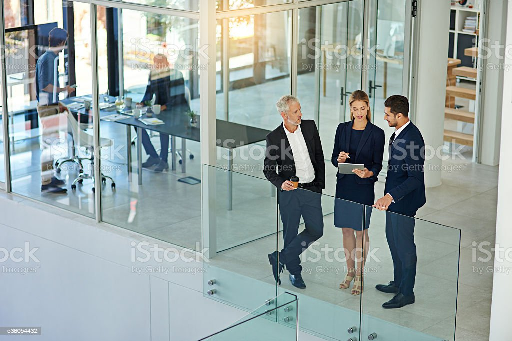 Talking strategy before the meeting stock photo