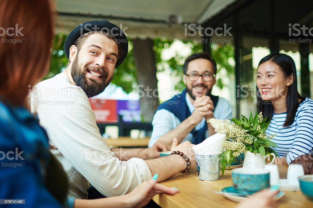 Talking to girl stock photo