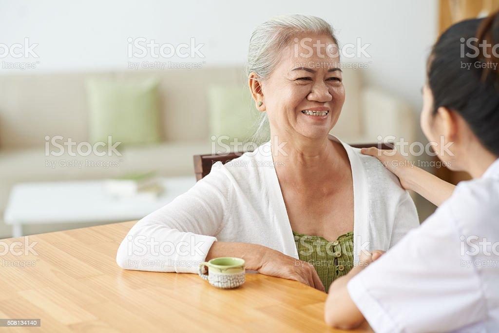 Talking to nurse stock photo