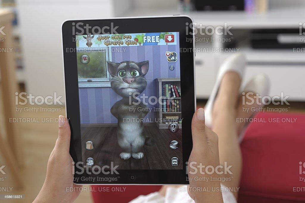 Talking Tom on iPad royalty-free stock photo