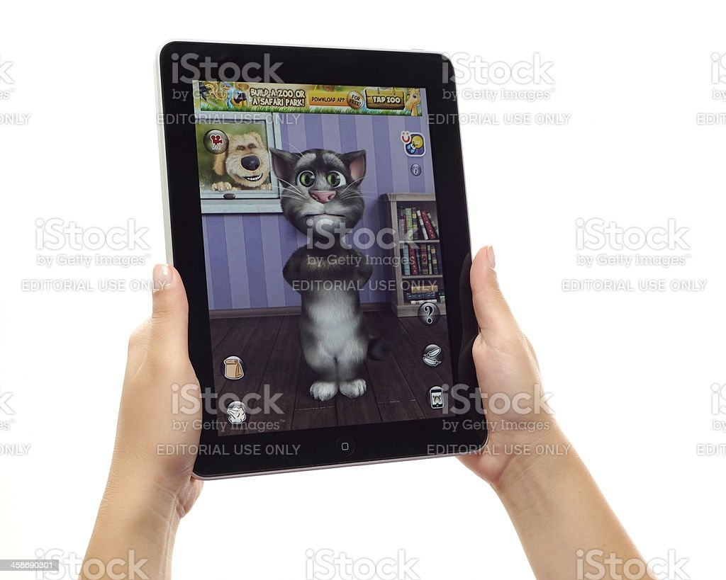 Talking Tom on iPad royalty-free stock photo