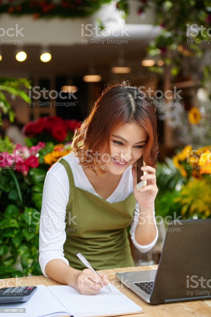 Talking with client stock photo
