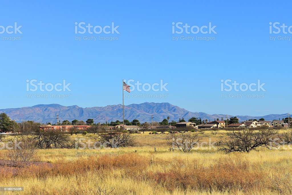 Tall American Flag, Big Sky stock photo