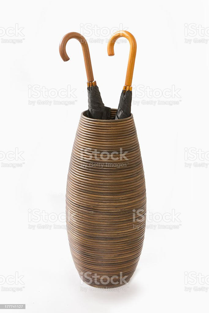 Tall Basket Filled with Umbrellas royalty-free stock photo
