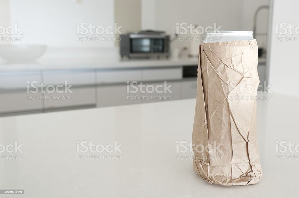 Tall Beer Wrapped in a Brown Bag royalty-free stock photo