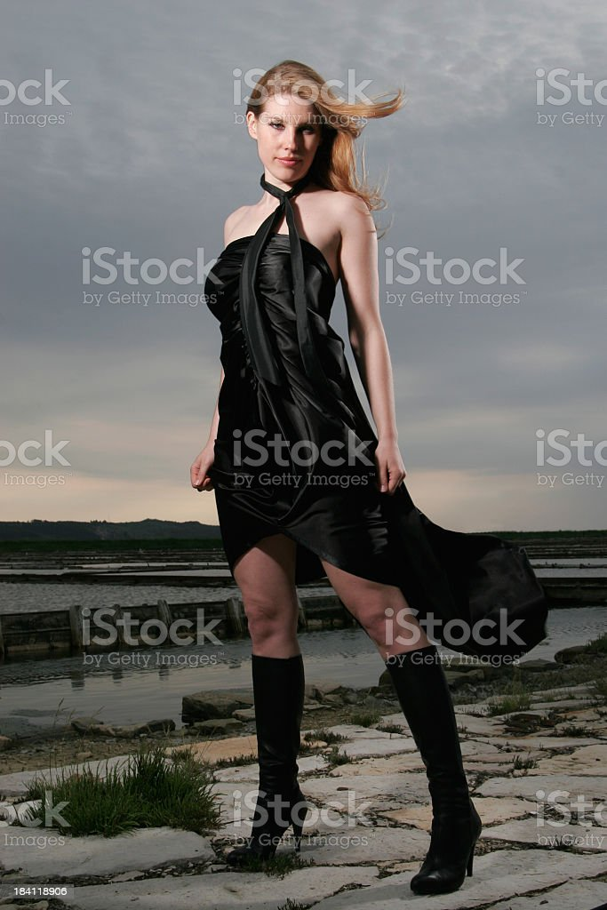 Tall, black boots. stock photo