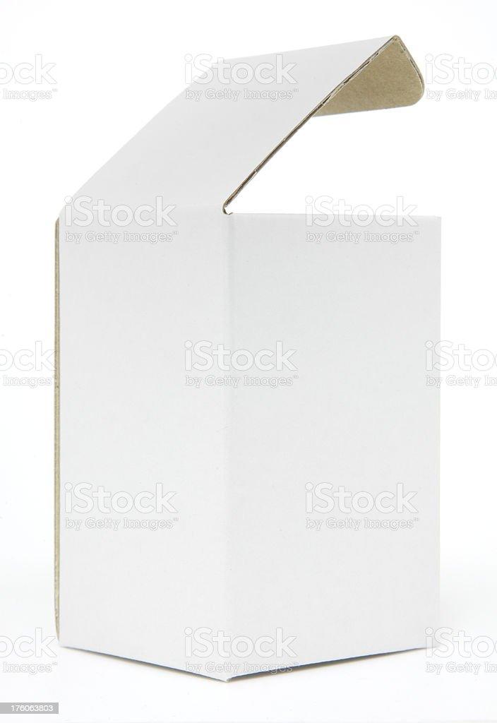 Tall blank white carton isolated stock photo