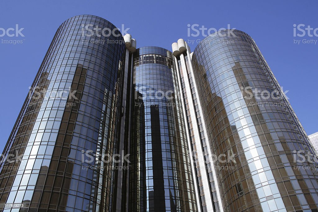 Tall building with reflective glass windows stock photo