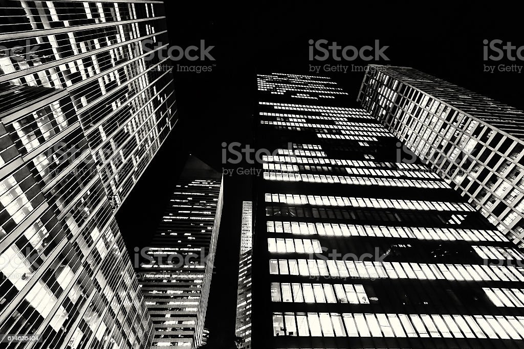 Tall buildings from within Manhattan in New York City stock photo